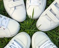 Sports shoes. On the green grass Stock Photos