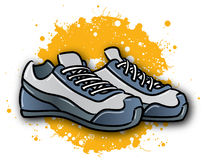 Sports Shoes. An illustration of a pair of shoes for basketball or other sports stock illustration