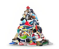 Sports shoes. A big bunch of colorful sports shoes Royalty Free Stock Images