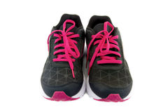 Sports shoes. Color black and red isolated on white background. clipping path on picture Stock Photography