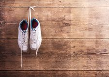 Sports shoes on the floor Stock Image