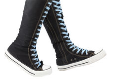Sports shoes - high top knee sneakers Royalty Free Stock Photos