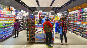 Sports shoes store Stock Photos