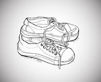 Sports shoes. Vector illustration old sports shoes sketch doodle Royalty Free Stock Photo