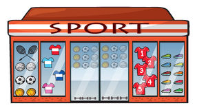 A sports shop. Illustration of a sports shop on a white background Royalty Free Stock Photo