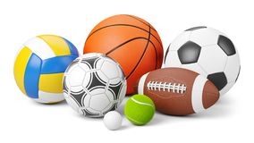Sports shop logo. Group of balls the team games isolated on white background. 3d royalty free illustration