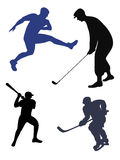 Sports  silhouettes. Royalty Free Stock Photography
