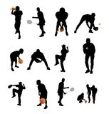 Sports silhouettes. A set of black sports silhouettes with balls and equipment Stock Photo