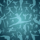 Sports silhouettes blue seamless pattern Stock Photography