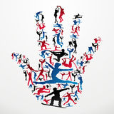 Sports silhouettes hand Royalty Free Stock Photography