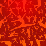 Sports silhouettes red pattern Stock Image