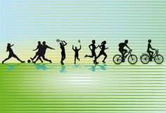 Sports silhouettes. Set of sporting leisure activity silhouettes on a striped background Stock Images