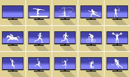 Sports silhouettes on smart Flat TV Stock Photos