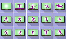 Sports silhouettes on Tablet Royalty Free Stock Image