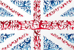 Sports silhouettes UK flag Royalty Free Stock Photography