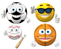 Sports Smiley Faces Isolated Stock Images