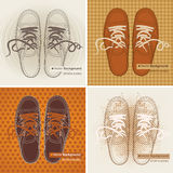 Sports sneakers. Set of four vector banners with sports sneakers on different backgrounds stock illustration