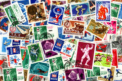 Sports. Soviet postage stamps. Sports. Background of the postage stamps issued in the Soviet Union (USSR Royalty Free Stock Photography