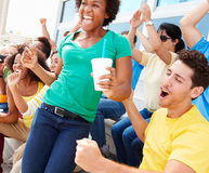 Sports Spectators In Team Colors Celebrating Royalty Free Stock Photography