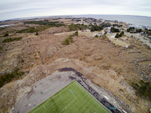 Sports stadium with artificial grass aerial view, drone view stock photo