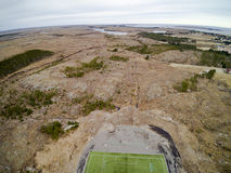 Sports stadium with artificial grass aerial view, drone view Stock Image