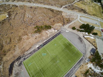 Sports stadium with artificial grass aerial view, drone view royalty free stock photography