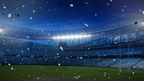 Sports stadium with blue and white confetti falling. Animation of a floodlit sports stadium with blue and white confetti falling stock illustration