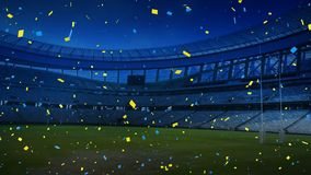 Sports stadium with blue and yellow confetti falling. Animation of a sports stadium at night with blue and yellow confetti falling vector illustration