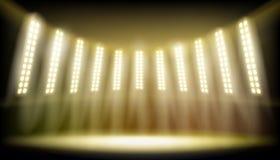Illuminated stage on the stadium. Vector illustration. Stock Photography