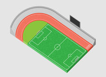 Sports Stadium and football field 3d Royalty Free Stock Images