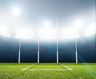 Sports Stadium And Goal Posts Royalty Free Stock Images