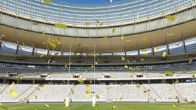 Sports stadium with golden confetti falling. Animation of a sports stadium with golden confetti falling vector illustration