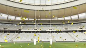 Sports stadium with golden confetti falling. Animation of a sports stadium with golden confetti falling stock illustration