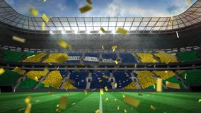 Sports stadium with golden confetti falling. Animation of a sports stadium with a Brazilian flag with golden confetti falling vector illustration