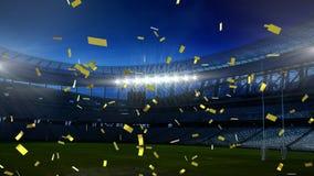 Sports stadium with golden confetti falling. Animation of a floodlit sports stadium with golden confetti falling royalty free illustration