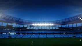 Sports stadium with golden confetti falling. Animation of a sports stadium at night with golden confetti falling royalty free illustration