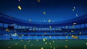 Sports stadium with golden confetti falling. Animation of a sports stadium at night with golden confetti falling vector illustration