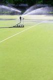 Sports stadium lawn watering Royalty Free Stock Image