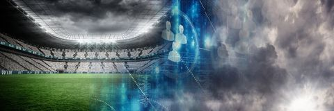 Sports stadium lights transition effect with clouds. Digital composite of Sports stadium lights transition effect with clouds Stock Photo