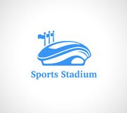 Sports Stadium Logo in Blue Stock Photo