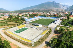 Sports stadium in a small town in the mountains Stock Image
