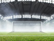 Sports Stadium And Soccer Goals stock image