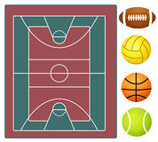 Sports stadium and sports balls Royalty Free Stock Images