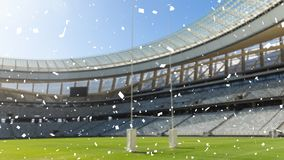 Sports stadium with white confetti falling. Animation of a sports stadium with white confetti falling stock illustration