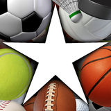 Sports Star. Symbol with a group of sport balls equipment as an icon of recreation fitness success and exercise with a blank white area Royalty Free Stock Images