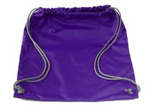 Sports string bag with drawstring on a white. Ultra violet color. Sports string bag with drawstring on a white background. Ultra violet color Royalty Free Stock Photography