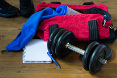 Sports stuff on the table Royalty Free Stock Photo