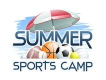 Sports Summer Camp concept with different Sports Balls and Umbrella. Vector illustration royalty free illustration