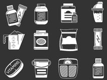 Sports supplements white icons. White contour icons collection of elements for healthy sports nutrition on black background Royalty Free Stock Photo