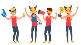 Sports Supporting Team Vector. Guys Fans Cheer For Team. Different Poses. Cartoon Character Illustration Stock Photography